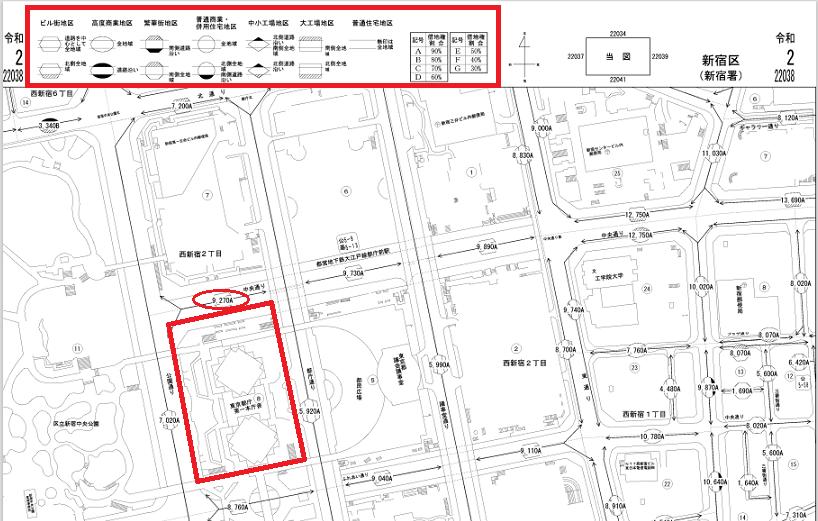 令和2年分の路線価図で、土地の路線価はどこに表示されているかを分かりやすくマーキングした画像